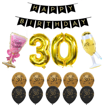 Amazon 15pcs 30th Anniversary Decoration Balloon Kit Happy Birthday Banner
