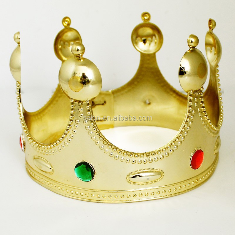 Adjustable Size Golden Plastic King Crown Decorations For Activity ...