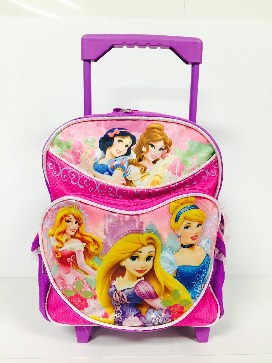 Disney Princess Heart Shape Front Pocket Toddler Rolling Backpack and Pencil Case Set