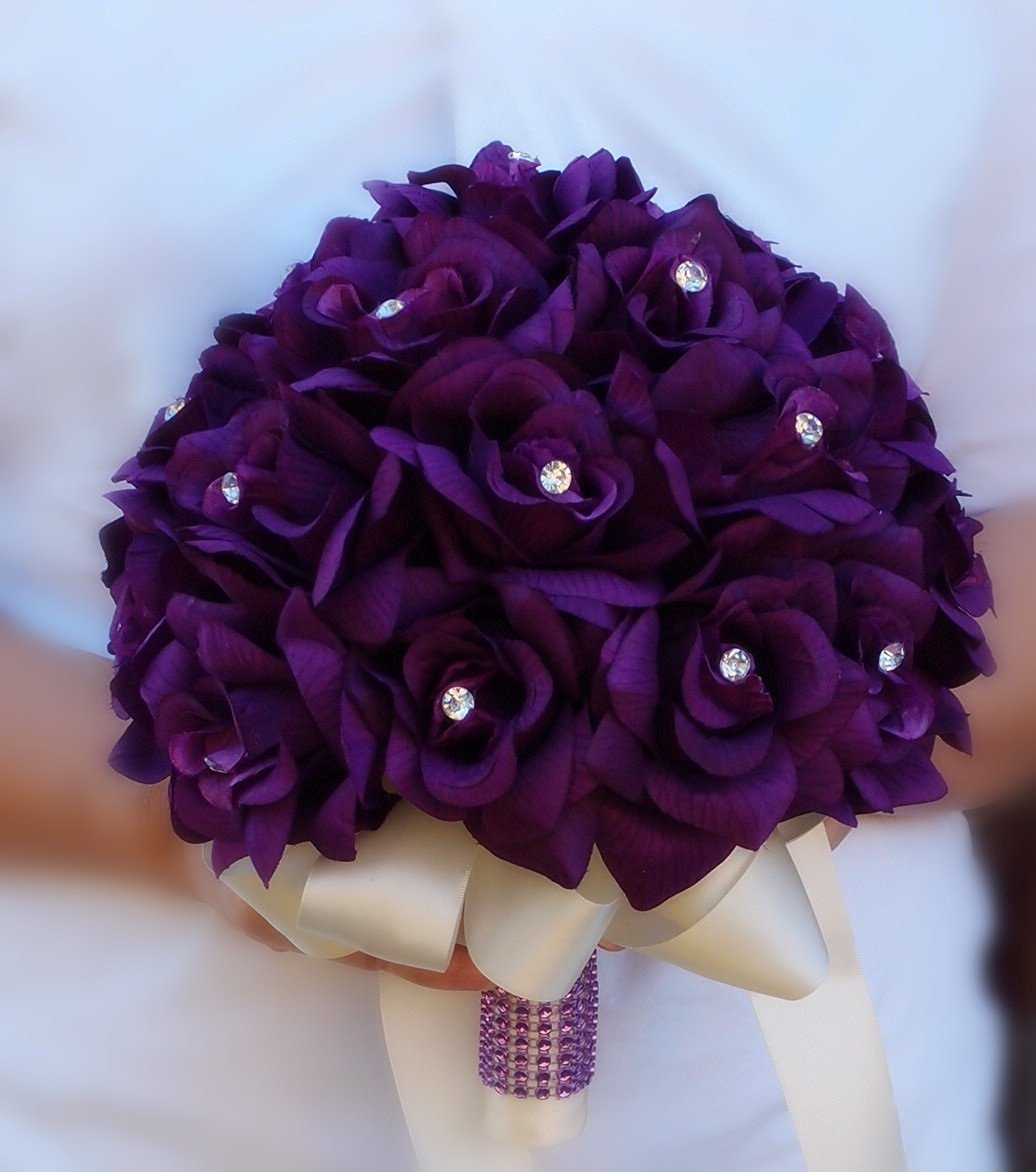 Cheap how to make satin ribbon roses bouquet find how to make satin get quotations purple roses bridal wedding bouquet with ivory stain ribbon handle izmirmasajfo