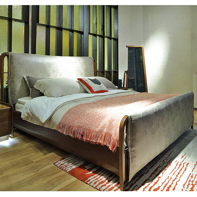 718 latest high back wood double <strong>bed</strong> designs with box