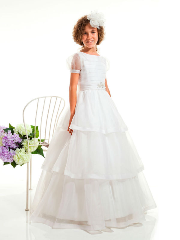e8fc83be7ec Get Quotations · Modest Puff Sleeves White First Communion Dresses Floor  Length O Neck Tiered Catholic Holy Communion Dresses
