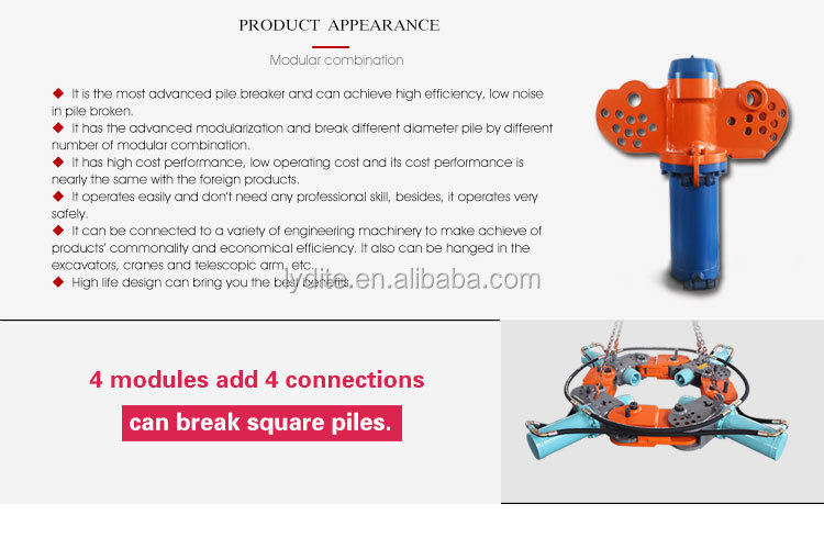 construction equipment part hydraulic round pile breaker machine pile cutter for sale