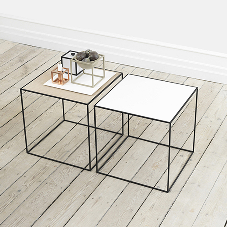 Modern simple design rose gold square coffee table,metal leg marble top coffee table