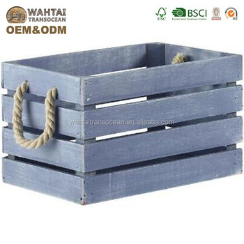 Small Light Blue Wood Slat Crate Buy Wooden Cratesdistressed Wood Crategift Wood Crate Product On Alibabacom