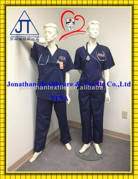 Embroidery! navy blue nurse scrubs uniform/nurse scrub suits