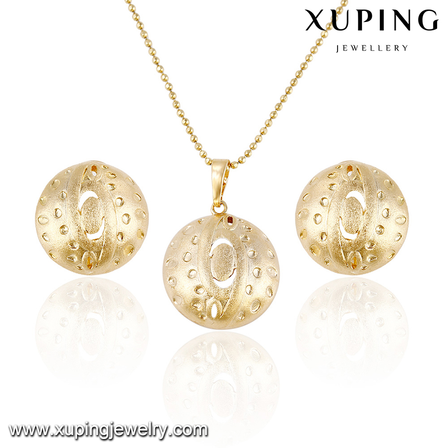 63885 Xuping simple style well design vogue brass jewelry coin jewelry set with free lead and nickel