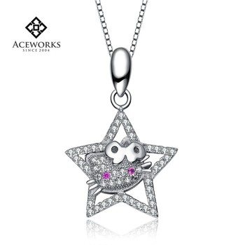 Wholesale Star Cat Hello Kitty 925 Sterling Silver Pendant