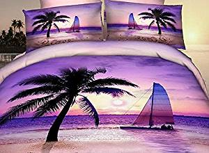 Babycare Pro 100% Cotton Palm Beach Bedding Sets/Duvet Cover Sets/ Fitted Sheet Sets 4 Pieces,2 Pillowcases,1 Fitted Sheet and 1 Duvet/Quilt Cover,No Comforter (Queen)