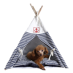 Navy Stripe Style Pet House Tent and Pet Bed Mat for Little Dog and Cat