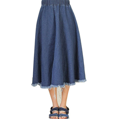 f1bc2a64ea2 Get Quotations · Fashion Women Pleated long jean skirts women Elegant women  long skirt Casual Blue long maxi skirts