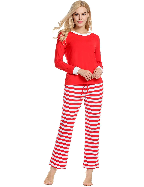 get quotations zouvo cotton sleepwear men women christmas pajamas winter long sleeve and stripe bottoms cotton pj set - Christmas Pajamas Women