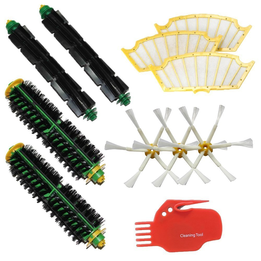 CIMC LLC 2 Bristle Brushes & 2 Flexible Beater Brushes & 3 Side Brushes 6-Armed & 3 Filters & Cleaning Tool Pack Mega Kit for iRobot Roomba 500 Series Roomba 510, 530, 535, 540, 560, 570, 580, 610 Vacuum Cleaning Robots all Green, Red, Black cleaning head