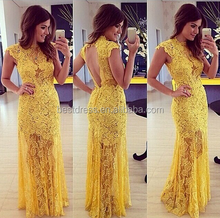 Sexy Sleeveless Floor Length Sheer Back Yellow Lace Pearls Long Formal Party Evening Dresses Prom Dress