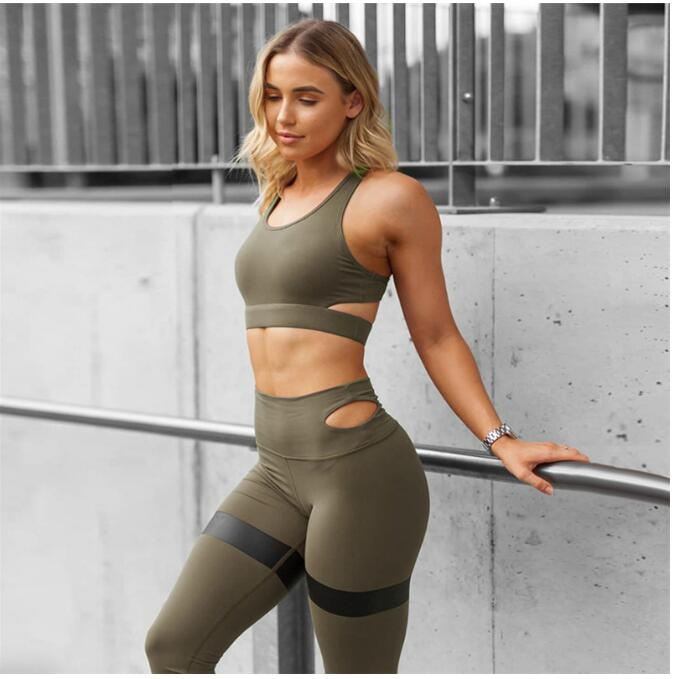SP1052B Frauen Yoga Sets Fitness Sport Bh + Yogahosen Leggings Set Gym Laufen Sport Anzug Set