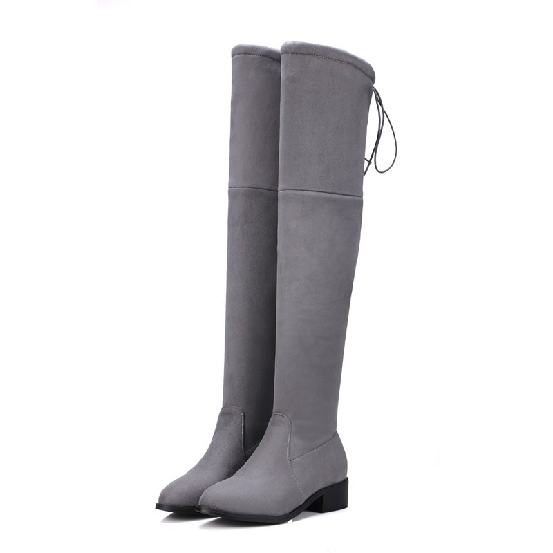 6089dc19d5c Women stretch Faux Suede slim over the knee boots pointed toe low-heel  lace-up thigh high boots woman Black Gray long 10.5