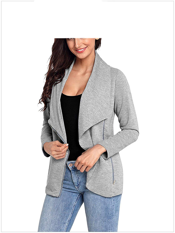 LOKOUO Fashion Womens Pu Leather Moto Solid Slim Zipper Blazer Jacket
