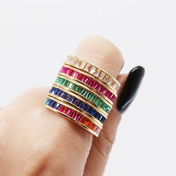Top Quality Simple Cubic Zirconia Lovers 18k Gold Color rainbow finger Ring delicate stack cz crystal Jewelry Sizes 7 Wholesale