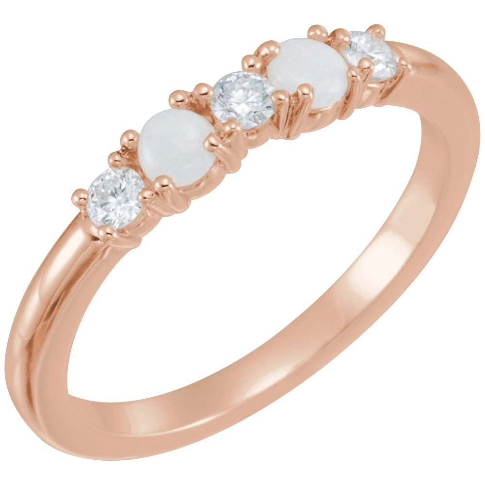 Bonyak Jewelry 14k Rose Gold Opal & 1/5 CTW Diamond Stackable Ring - Size 7