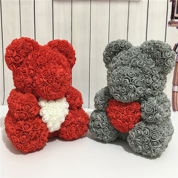 Birthday Gift Suggestions Artificial Red Champagne Teddy Rose Bear