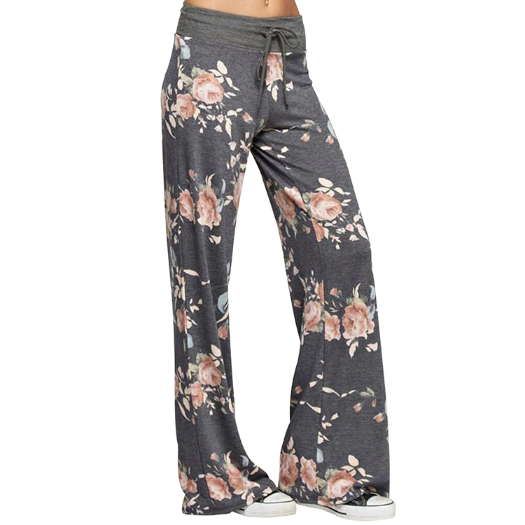 Wholesale Women Fat Gray Floral Long Loose Girls Palazzo Pants