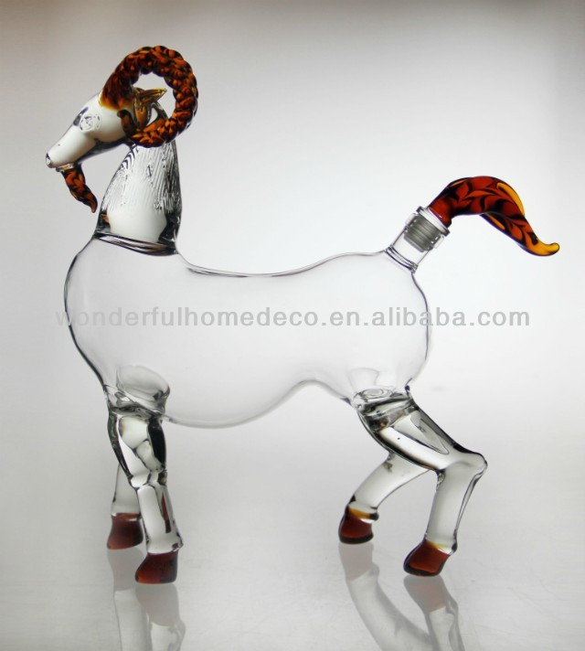 new products of Handblown painting horse shaped glass bottle,Wine Glass Bottle