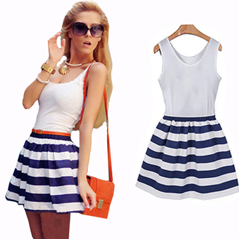 f3340ad387bfb Get Quotations · Summer Style Women Summer Dress 2015 Navy Blue Striped  Casual Sexy Dresses Chiffon Plus Size Vestidos