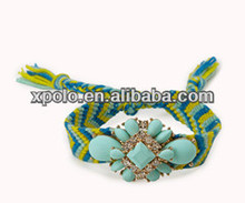 Wholesale Bohemia style woven bangle bracelets/European nationality style bangle bracelet/light blue resin beads woven bracelet