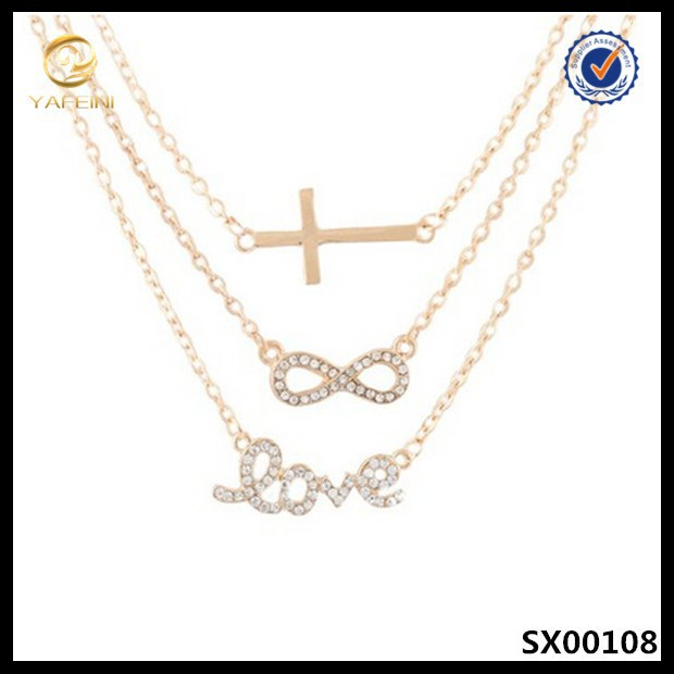 Fashion gold three adjustable link chain cross,infinity & love sterling silver necklace