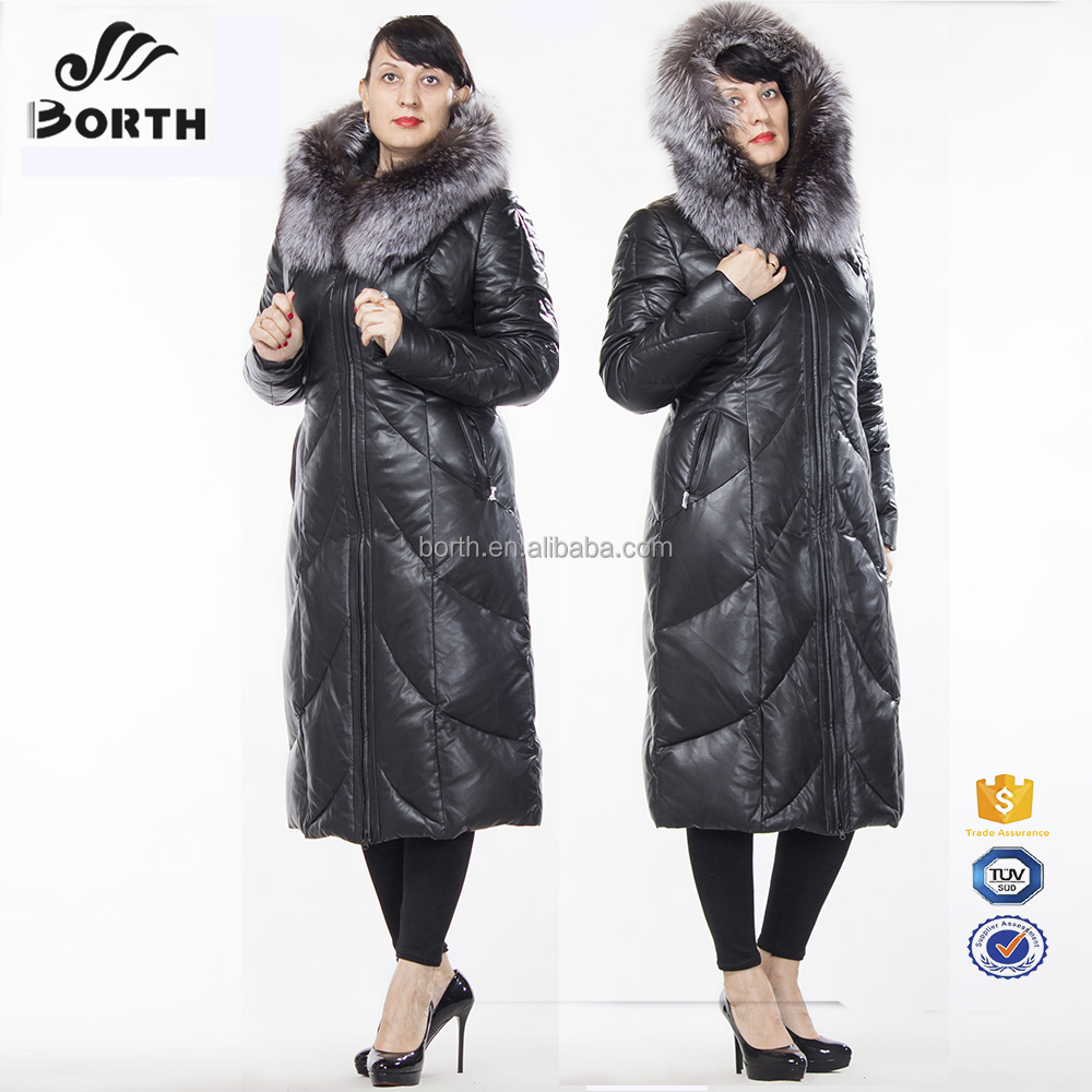 Wholesale women winter outdoor black long padded coat with real fox fur collar hooded for ladies