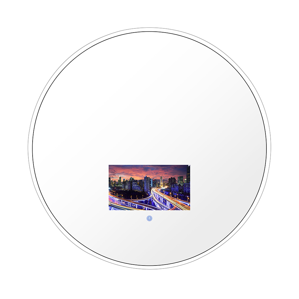 "24 ""Chrome Finish Round Vanishing Magic Mirror พร้อม LED TV ขนาด 10.6"""