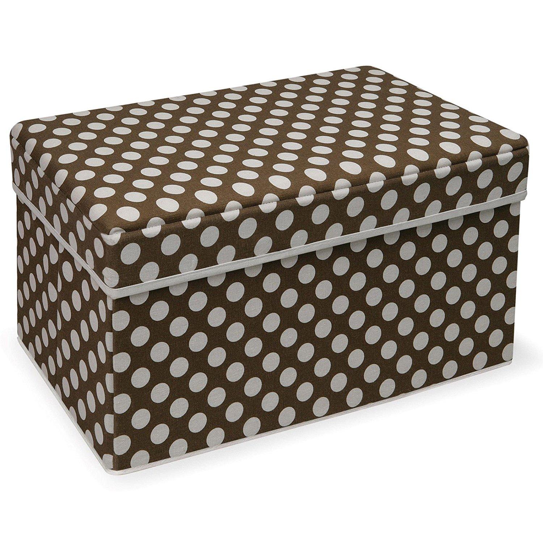 Badger Basket Double Folding Brown Polka Dot Storage Seat, Fabric Engineered Wood Foam