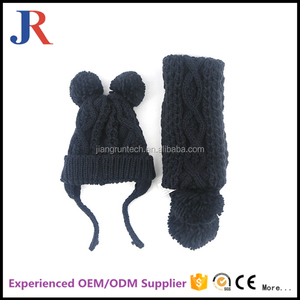 High quality custom woolen felt knitting sets wholesale baby beanie scarf hat glove sets