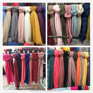 wholesale spring solid color scarf shawl girl fringe muslim plain pashmina hijabs