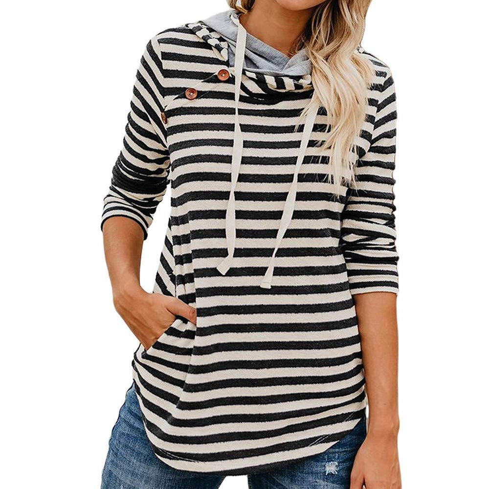 c6ca3237 Get Quotations · Women Long Sleeve Casual Striped Print Button Sweatshirts  Blouse with Pocket Long Hoodie Tops