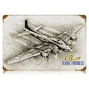 B-17 Flying Fortress Aviation Vintage Metal Sign - Victory Vintage Signs