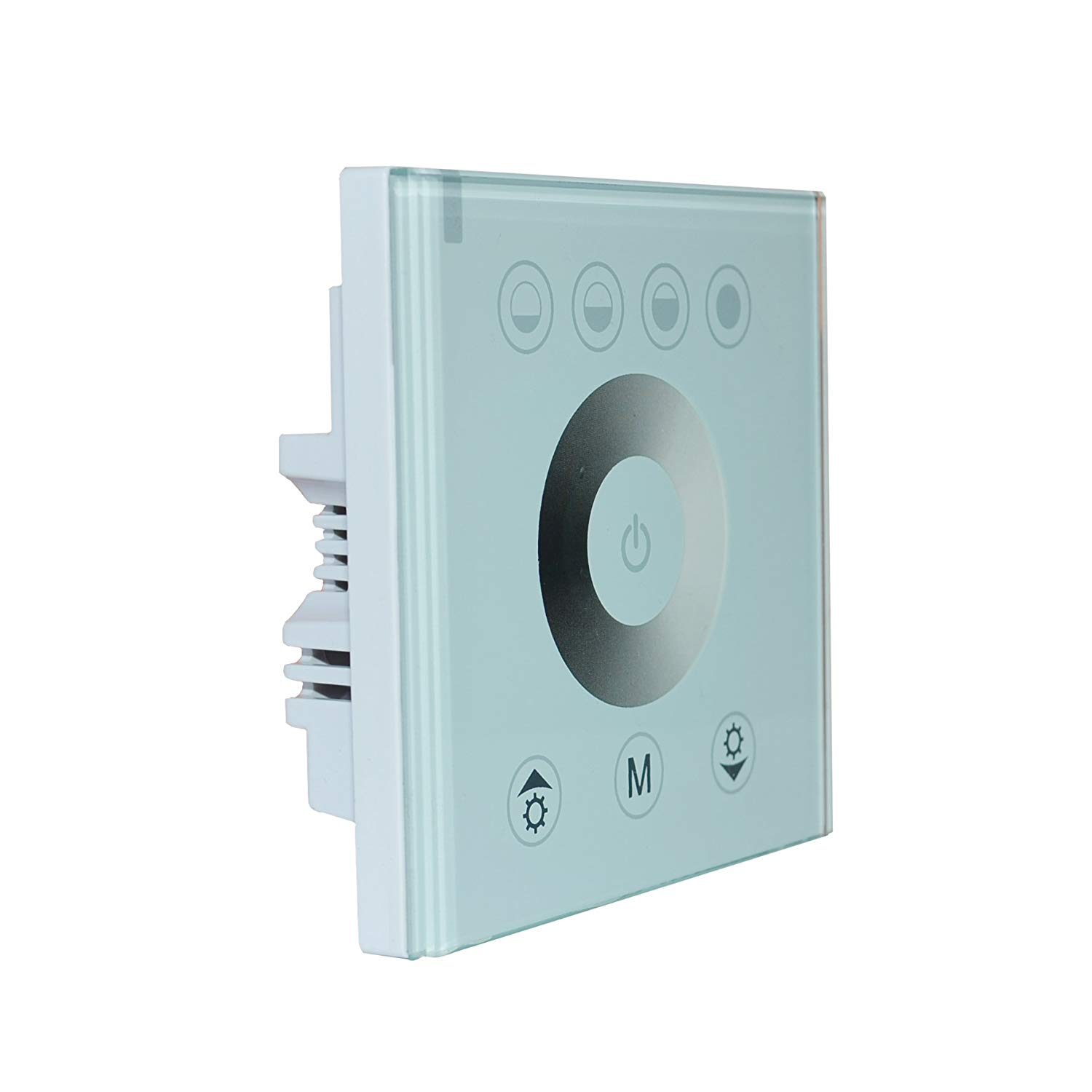 DC12v-24V Wall Mounted Touch Panel Controller Glass Panel Dimmer Switch For RGB RGBW LED Strip Light Controller (White Glass, Dimmer Controller)