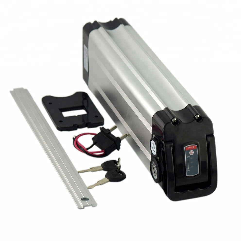 Silver fish type 36V 15Ah lithium ion battery pack for 500W electric bicycle, Silver;black