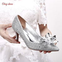 Crystal for bride high heels silver pointed shallow mouth rhinestone women wedding shoes Dress Shoes