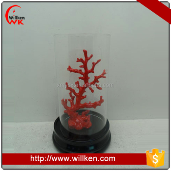 Red polyresin coral onament with clear glass cube and stand decoration