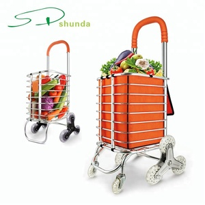 Heavy Duty Aluminum Folding Waterproof Canvas Bag Portable Stair Climbing Utility Shopping Trolley Cart with Swivel Wheel