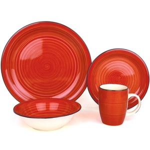 Red glazed dinnerware tableware sets christmas gift dinner set
