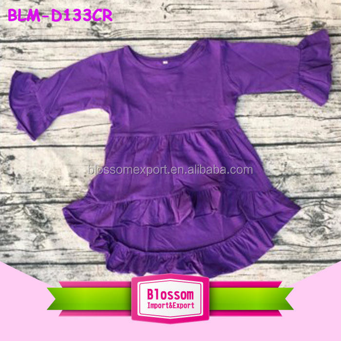 Wholesale Children's Boutique Clothing Baby Girl Dress Cotton Frocks Designs Kids High Low Top Dress