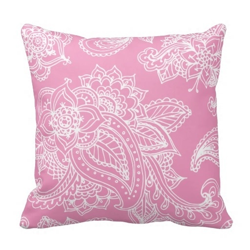 Good Case Pink Illustrated Bohemian Paisley Henna Throw Pillow Case (Size: 20