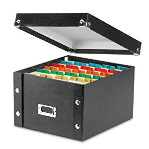 "Snap-N-Store IDESNS01647CT Collapsible 5"" x 8"" Index Card File Box, 1,100 Card Capacity, 8-1/8""W x 8-3/4""D x 5""H, 6 Per Carton, Black"