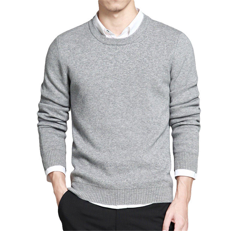 Shining4U Fashion Mens Fashion Print Crewneck Soft Knitted Basic Pullover Sweater