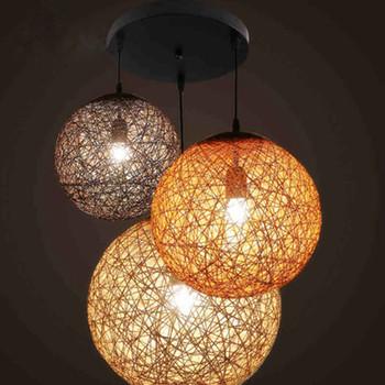 Colorful Rattan Shade Lamp Hanging Light Decorative Pendant Lighting Art Design
