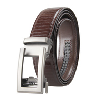 Li Yu Stock Men's Leather Ratchet Dress Belt with Automatic Buckle