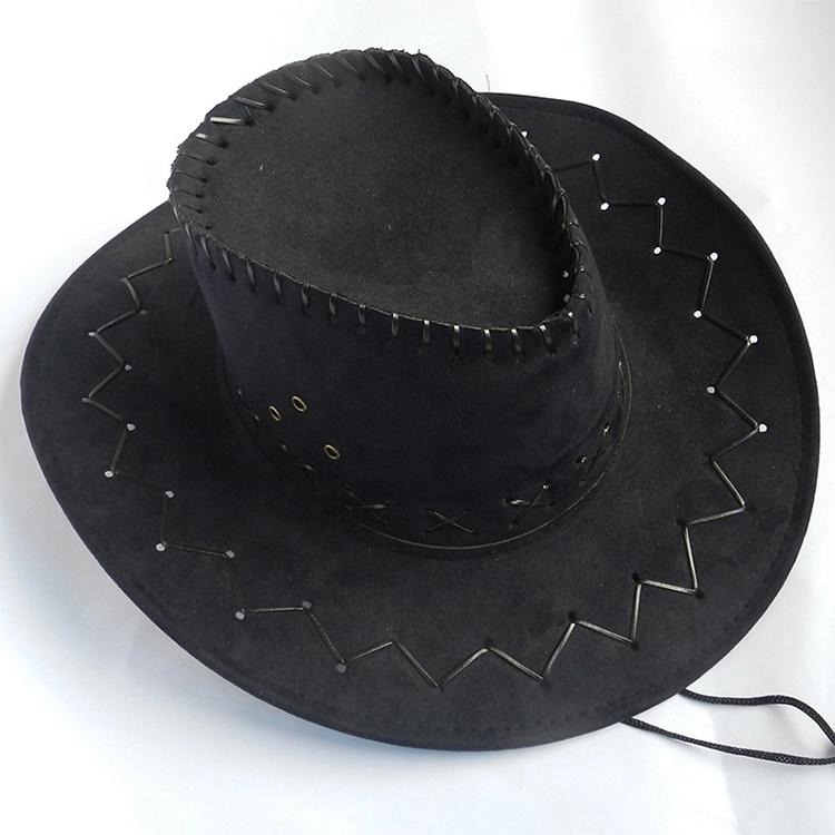 New Faux Suede Sequin Western Style Cowboy Party  Hat with Blinking LED Unisex