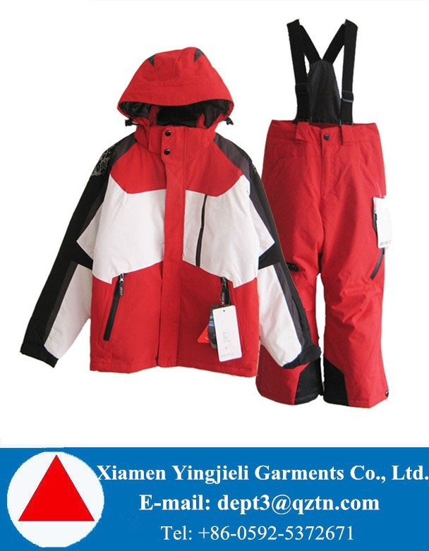 China Red HIGH QUALITY Waterproof Breathable Kids Snow Pants and Jacket Set